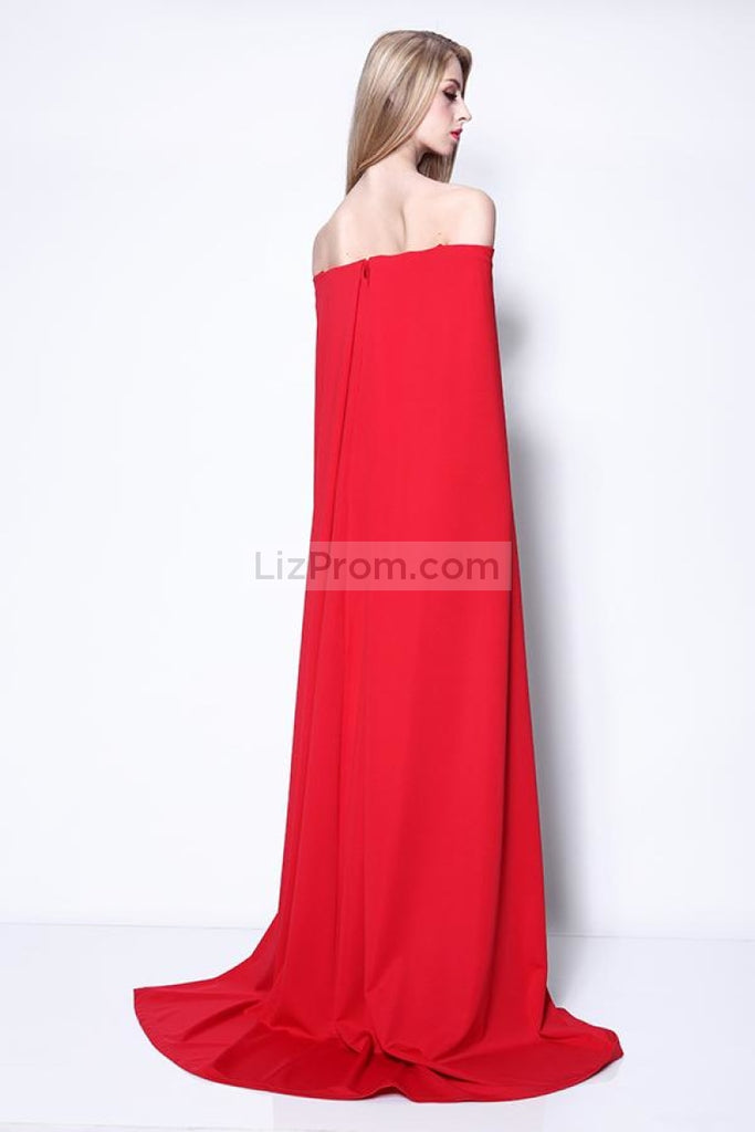 Elegant Red Off Shoulder Long Evening Prom Dress