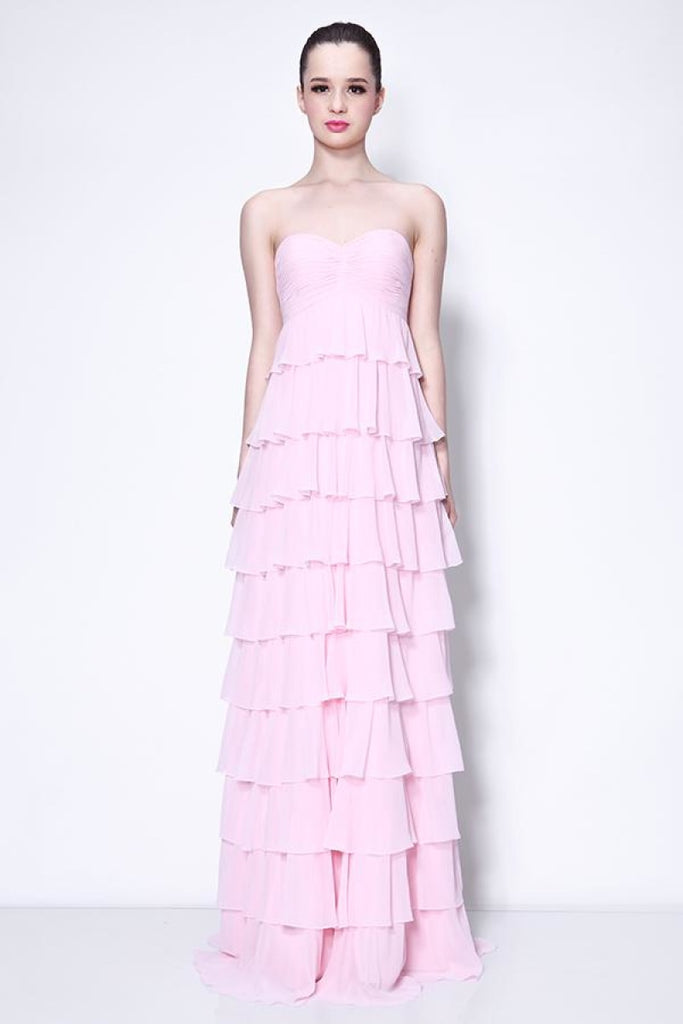 Chic Strapless Layered Ruffle Prom Dress