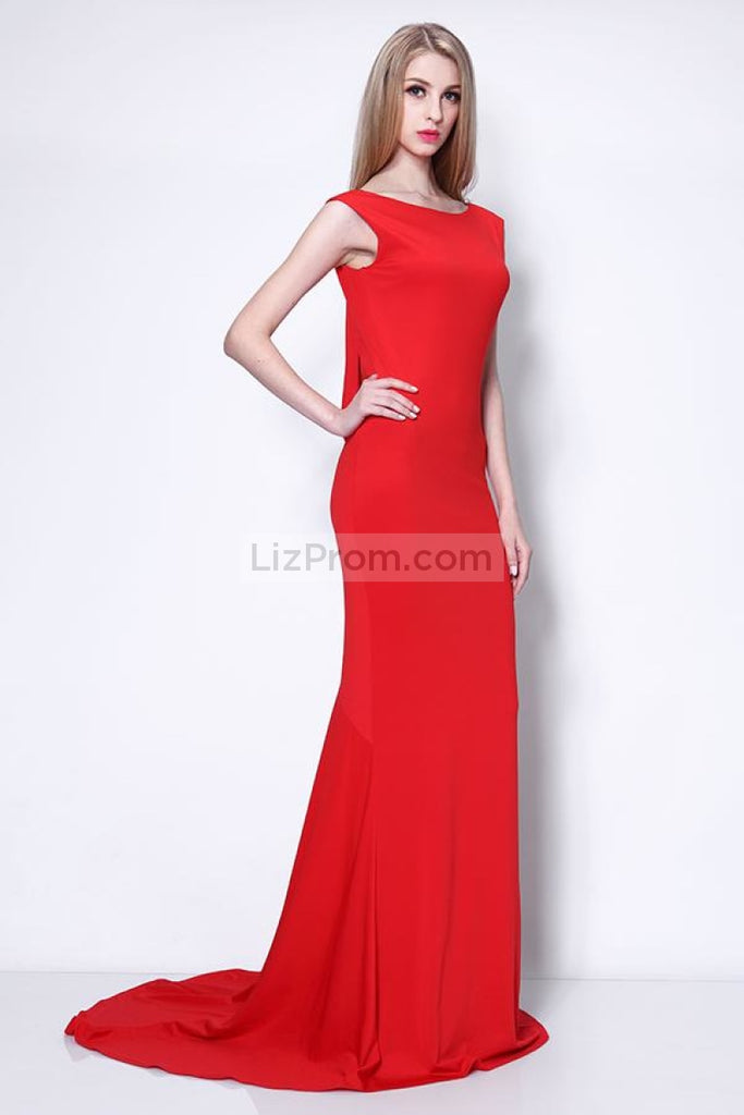 Red Open Back Sleeveless Evening Prom Dress.