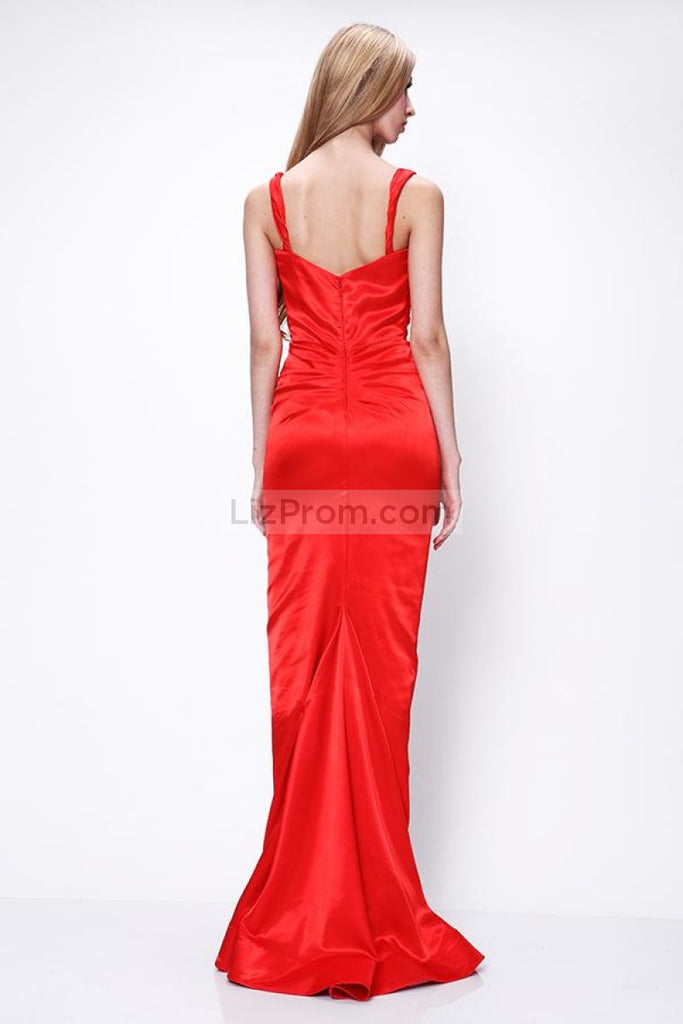 Red Sleeveless Sheath Prom Formal Dress