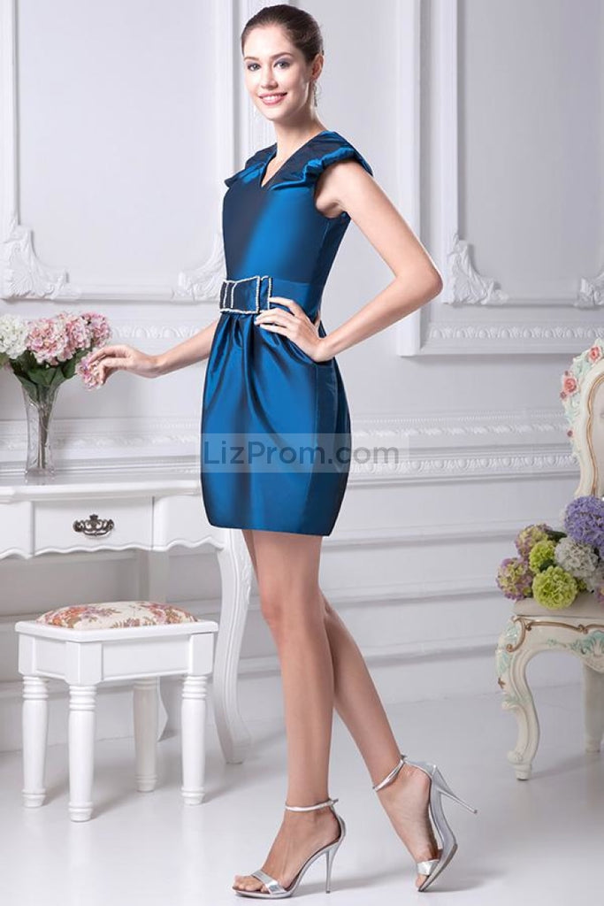 Ink Blue Cap Sleeves Cocktail Dress