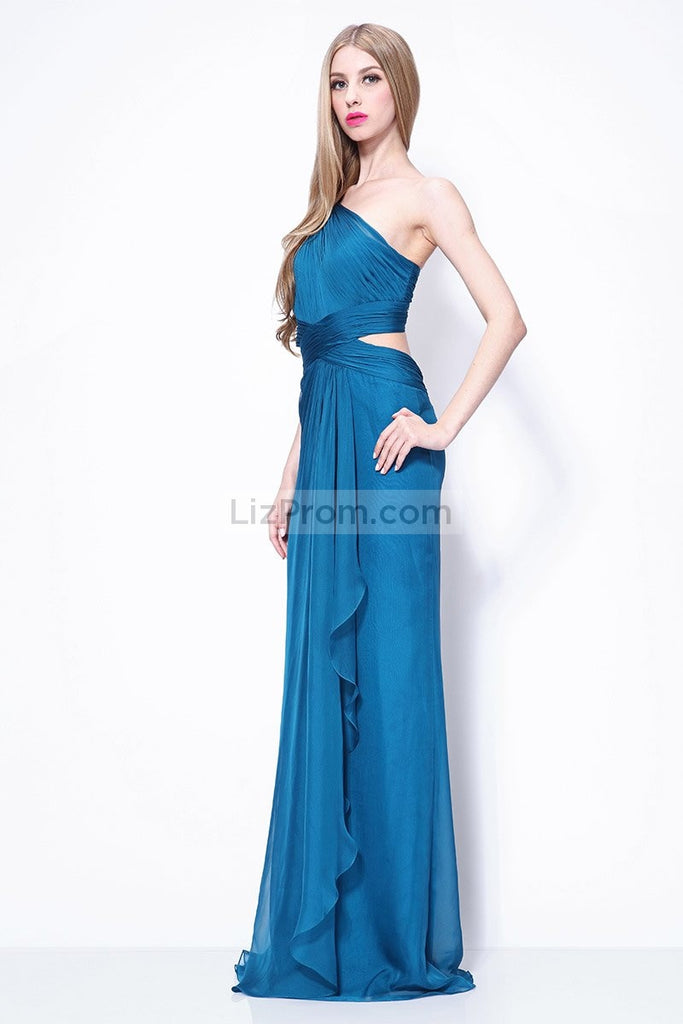 Ink Blue Cut Out Ruffled One Shoulder Prom Bridesmaid Dress