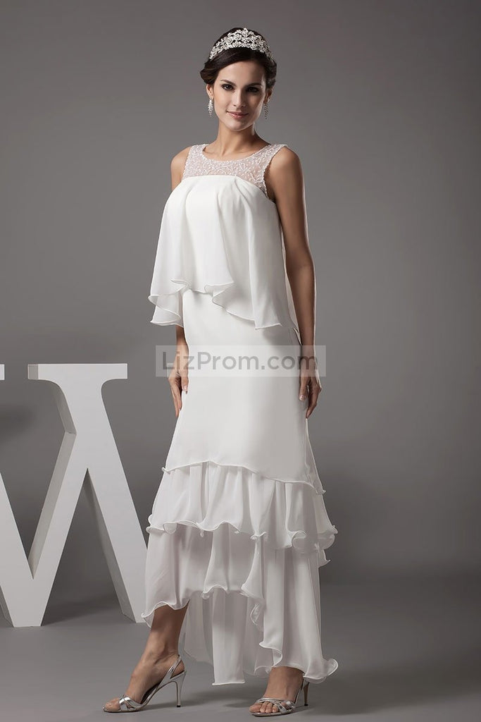 Ivory Beaded High Low Ruffle Prom Dress Dresses