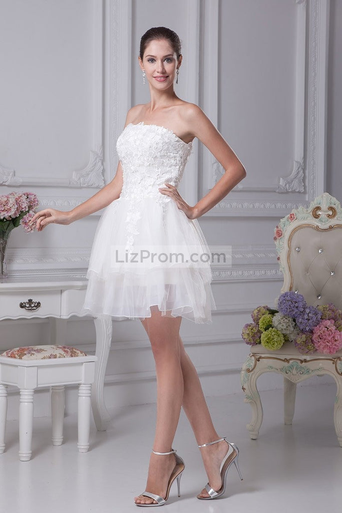 Ivory Strapless Applique Bridesmaid Short Homecoming Dress