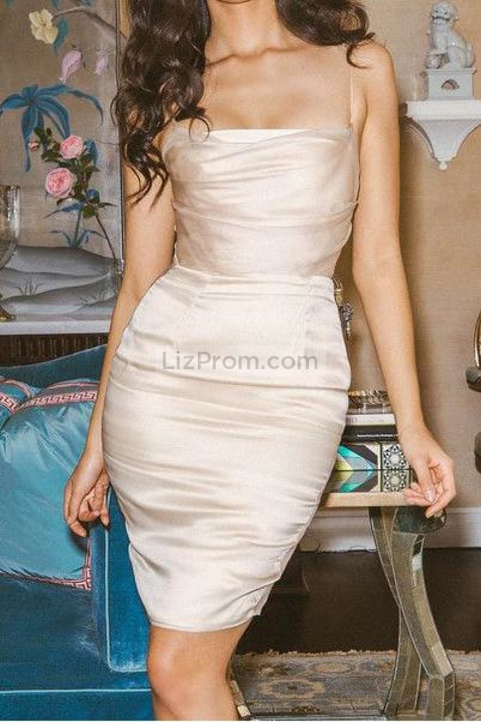 Ivory Sheath Cocktail Evening Prom Dress With Spaghetti Straps