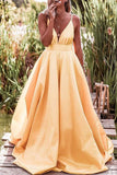 Ball-Gown Spaghetti Straps Satin Long Evening Dress