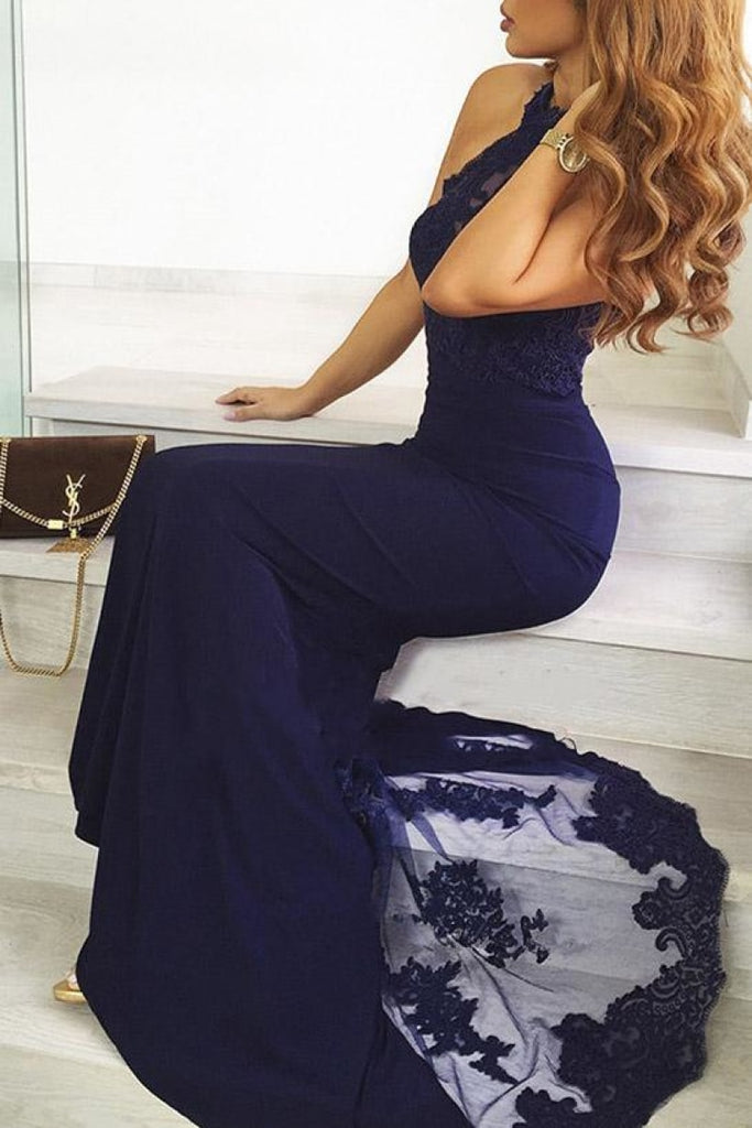 Dark Navy Mermaid Backless Halter Prom Dress