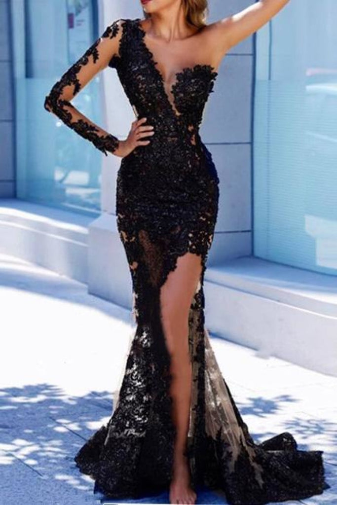 Black Tulle V-Neck Mermaid One Sleeve Applique Prom Dress Dresses