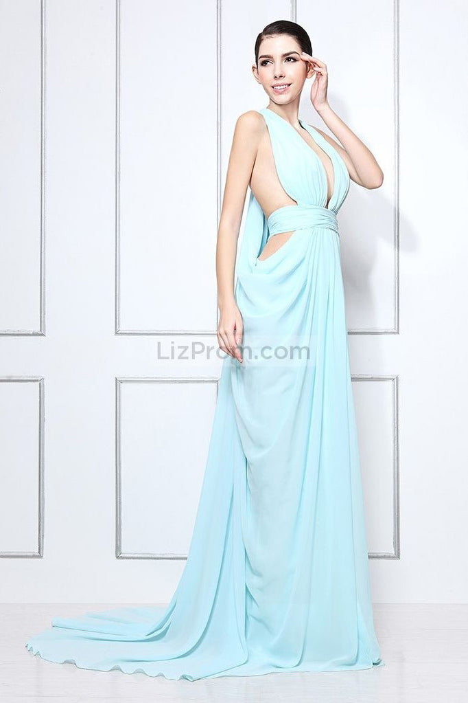 Light Sky Blue Cut Out Sexy Prom Formal Dress