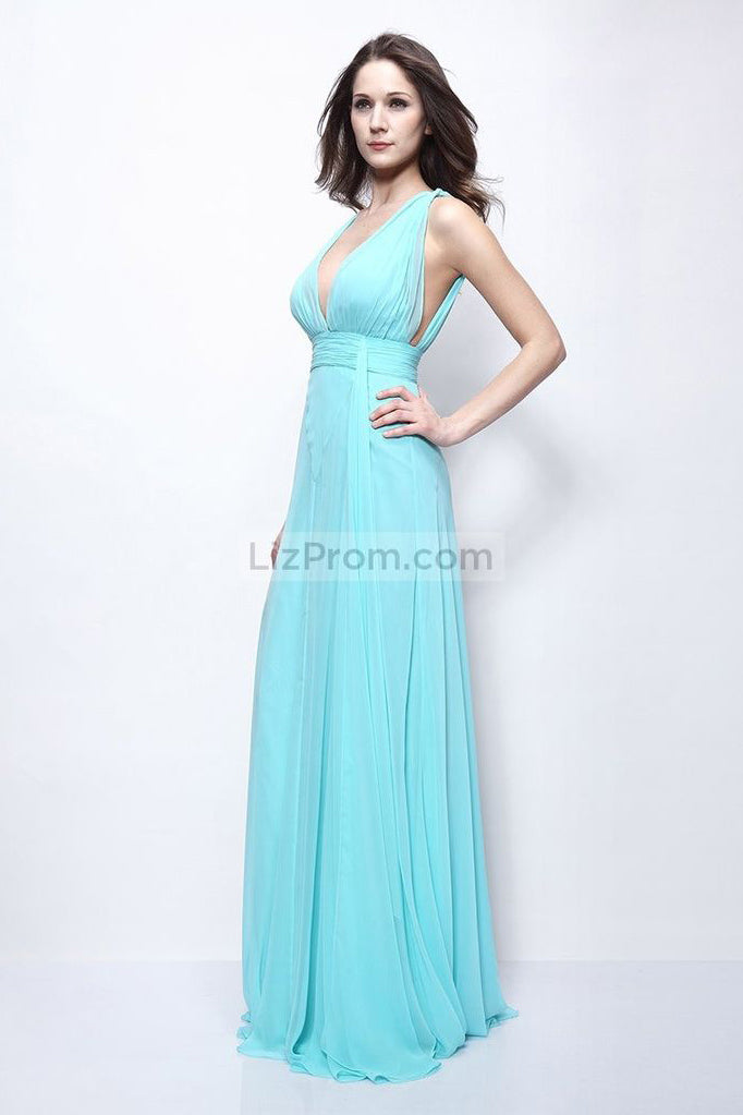 Light Sky Blue Deep V-neck Chiffon Prom Formal Dress