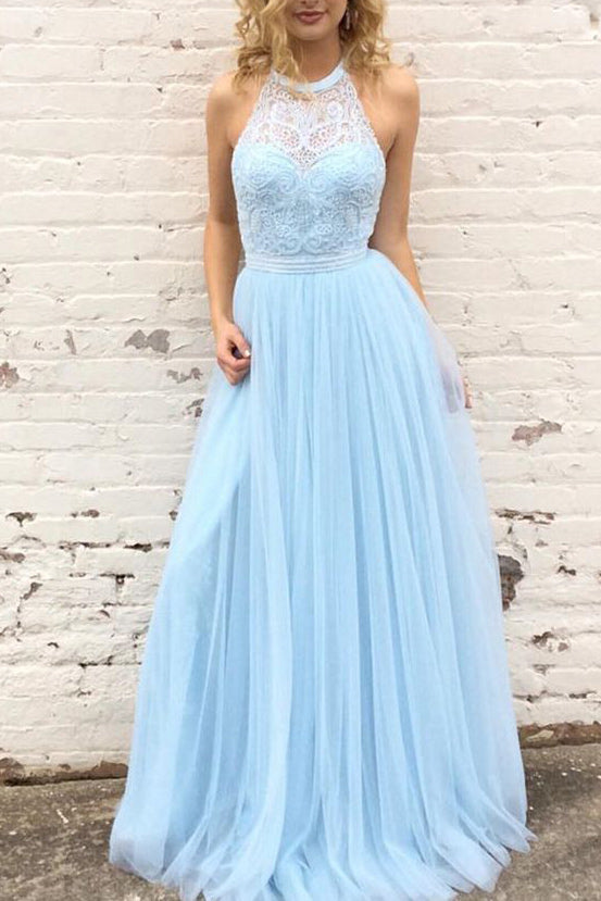 Light Sky Blue Lace Halter Prom Dress