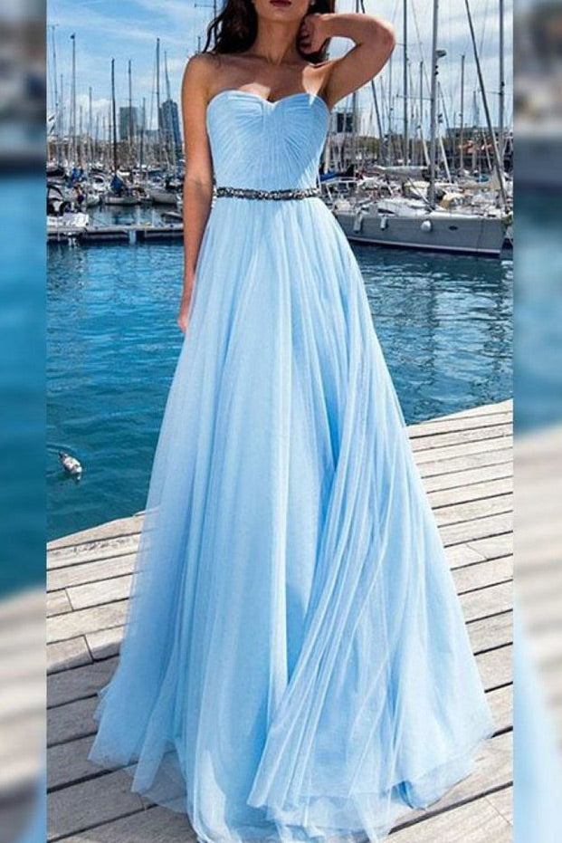 Light Sky Blue A-line Beaded Strapless Chiffon Prom Dress