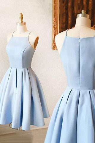 Light Sky Blue A-line Cocktail Evening Prom Dress