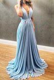 Light Sky Blue Cut Out Low V-neck Prom Evening Dress