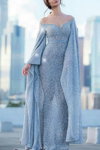 Light Sky Blue  Long Sleeves Off The Shoulder Sequined Mermaid Prom Dress