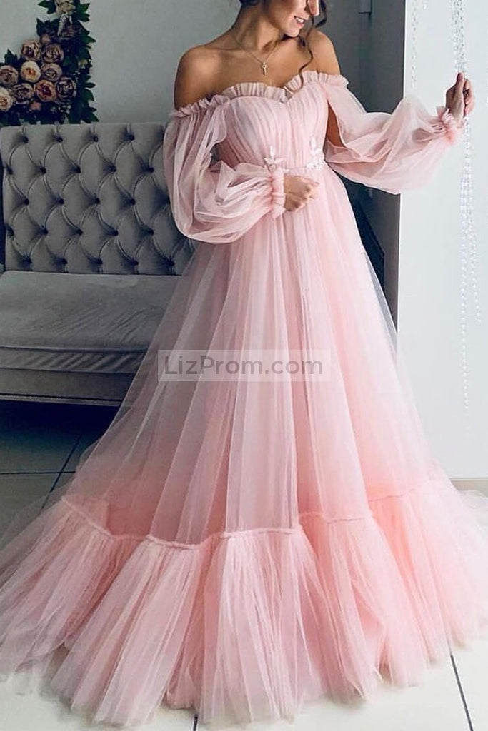 Light Sky Blue Off The Shoulder Ruffled Long Sleeves Ball Gown Dresses