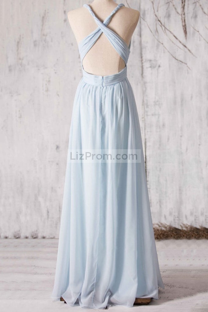 Light Sky Blue V-neck Ruffles A-line Prom Evening Dress