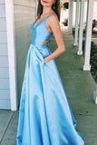 Light Sky Blue V-neck Satin Cut Out A-line Ball Gown