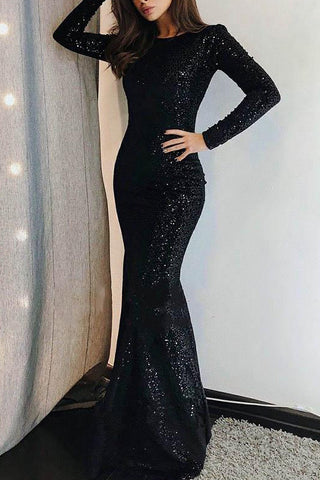 Long Sleeve Black Sequins Trumpet/Mermaid Prom Evening Dress