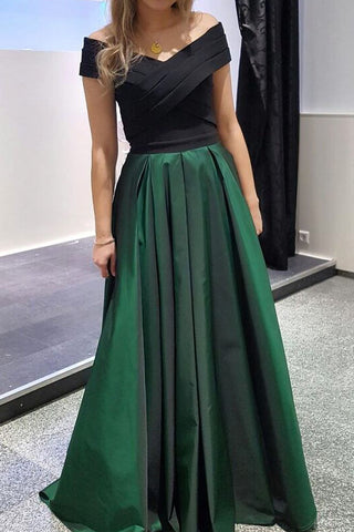 Long Black And Dark Green Two Tones Off-the-Shoulder Evening Formal Dresses