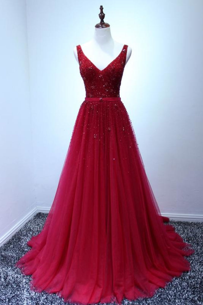 Long Red Beaded V-Neck Tulle A-Line Prom Gown Evening Dress