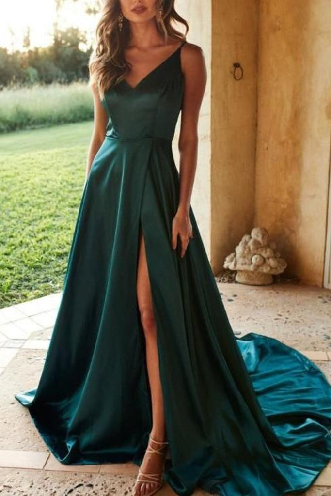 Long V-Neck A-Line High Split Evening Gown Prom Dresses