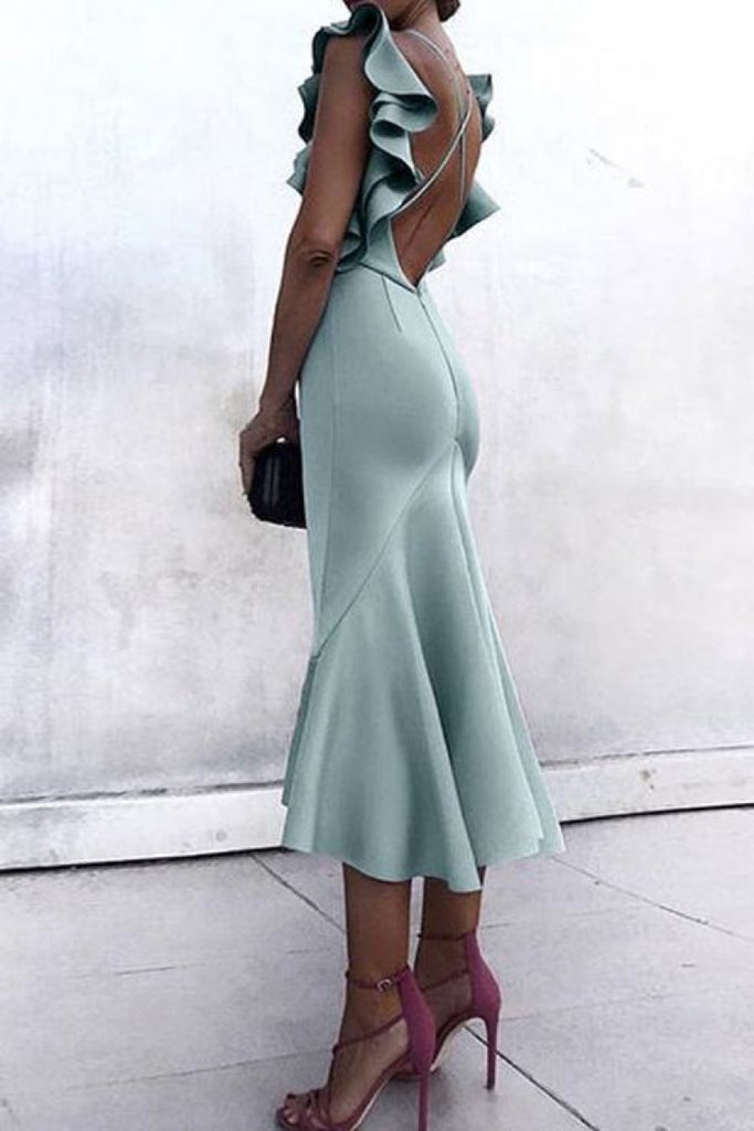 Mint Criss Cross Straps Mermaid Tea Length Evening Prom Dress