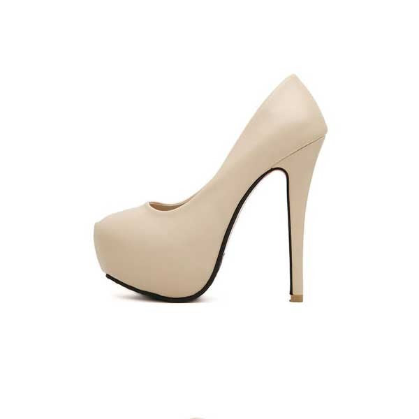 Champagne Stiletto Platform Closed Toe Prom Wedding Heels