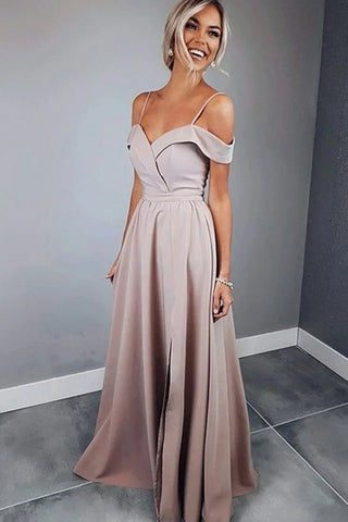 Off-the-Shoulder Spaghetti Straps A-line Evening Dress