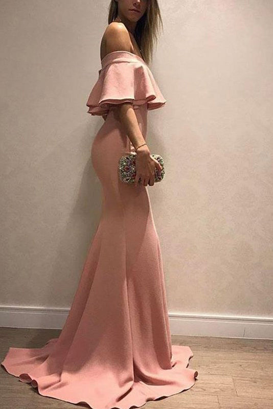 Off-the-Shoulder Train Mermaid Long Prom Evening Dresses