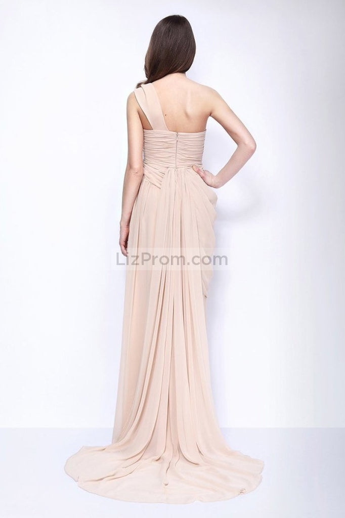 Champagne One Shoulder Thigh-high Slit Bridesmaid Formal Dress