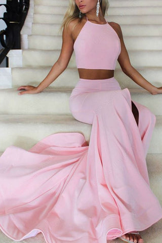 Blushing Pink Halter Two Pieces Mermaid High Slit Prom Evening Dress
