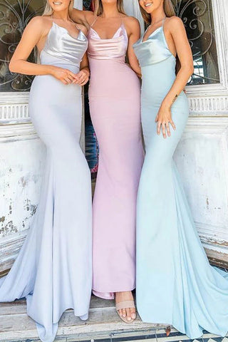 Open Back Hatler Cowl Mermaid Long Bridesmaid Dress