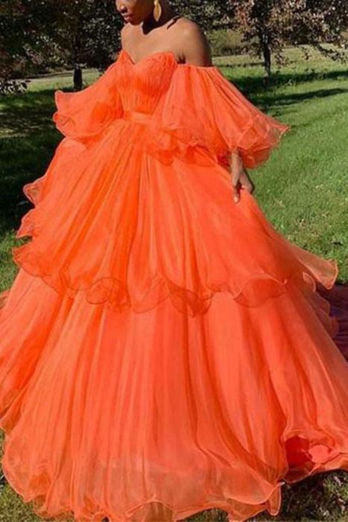 Orange Sweetheart Off The Shoulder Ruffled Evening Ball Gown Dresses