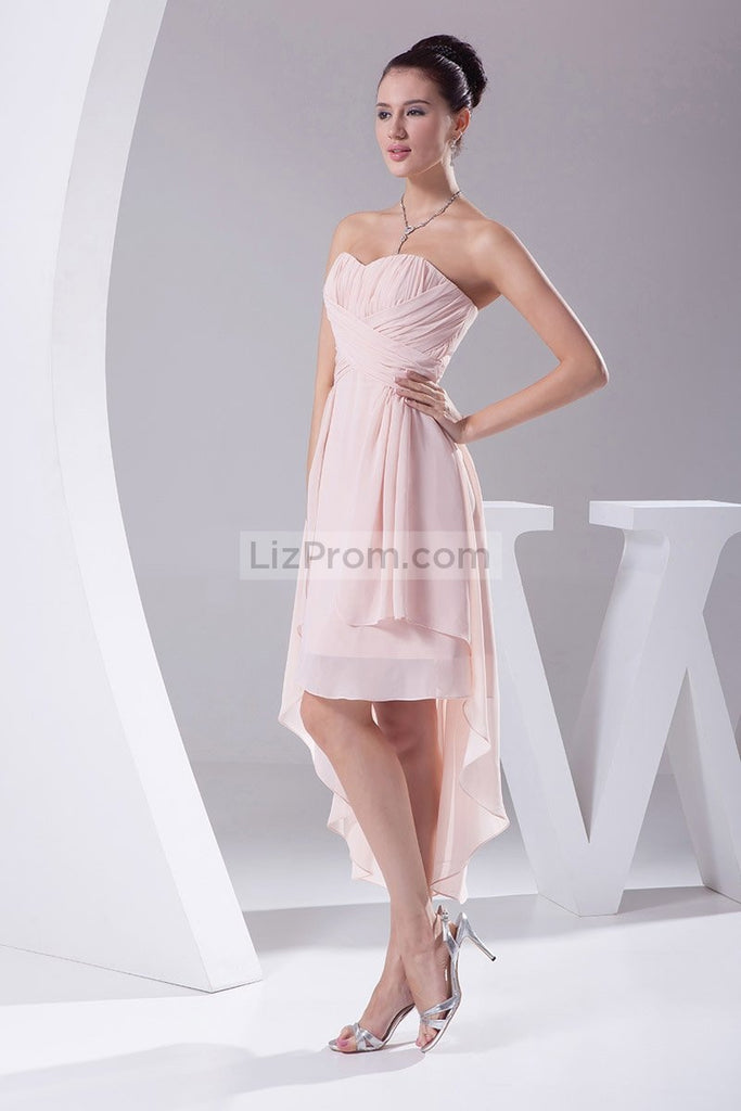 Pearl Pink High Low Strapless Ruffled Prom Cocktail Dress