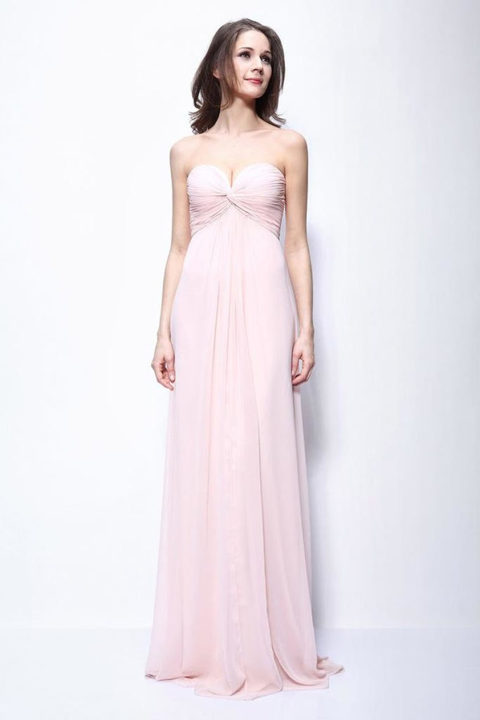 Chic Pearl Pink Strapless Ruffled Bridesmaid Prom Dress