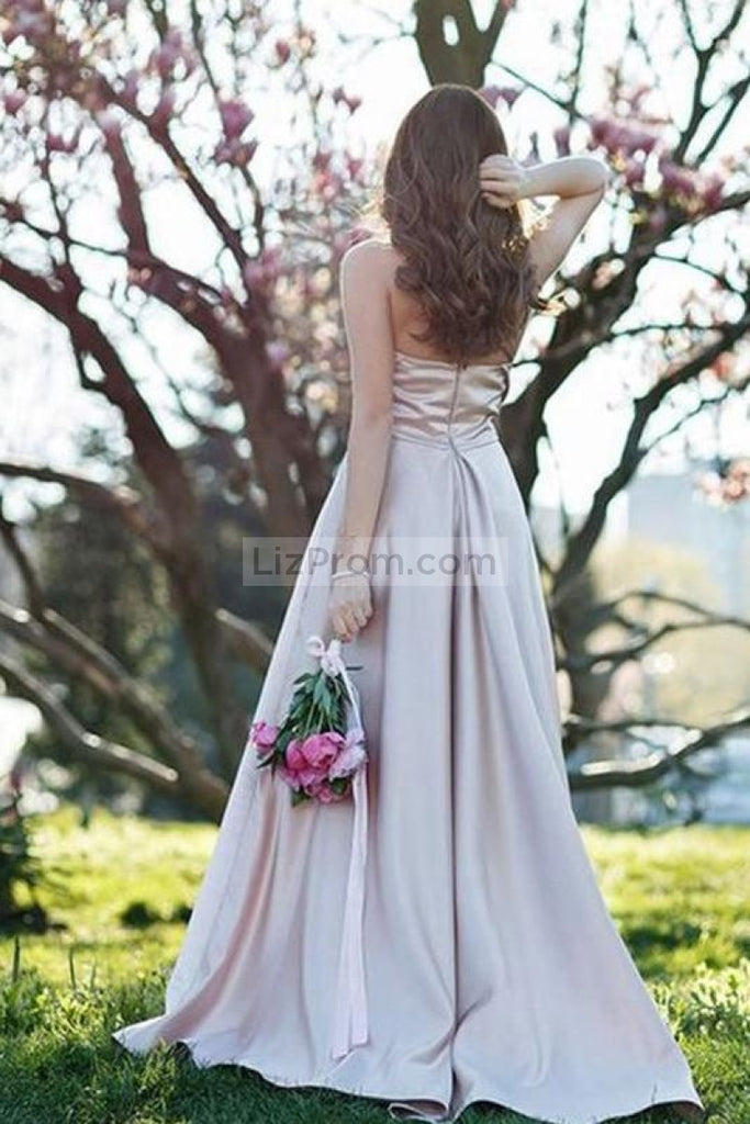 Pearl Pink A-Line Halter Sleeveless Backless Prom Dress Dresses