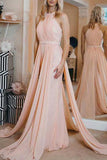Pearl Pink Halter Chiffon Closed Sleeveless Ruffled Evening Prom Dress