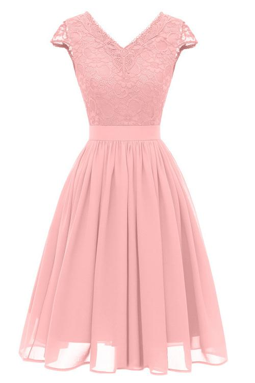 Pink A-line Cap Sleeves Homecoming Dress