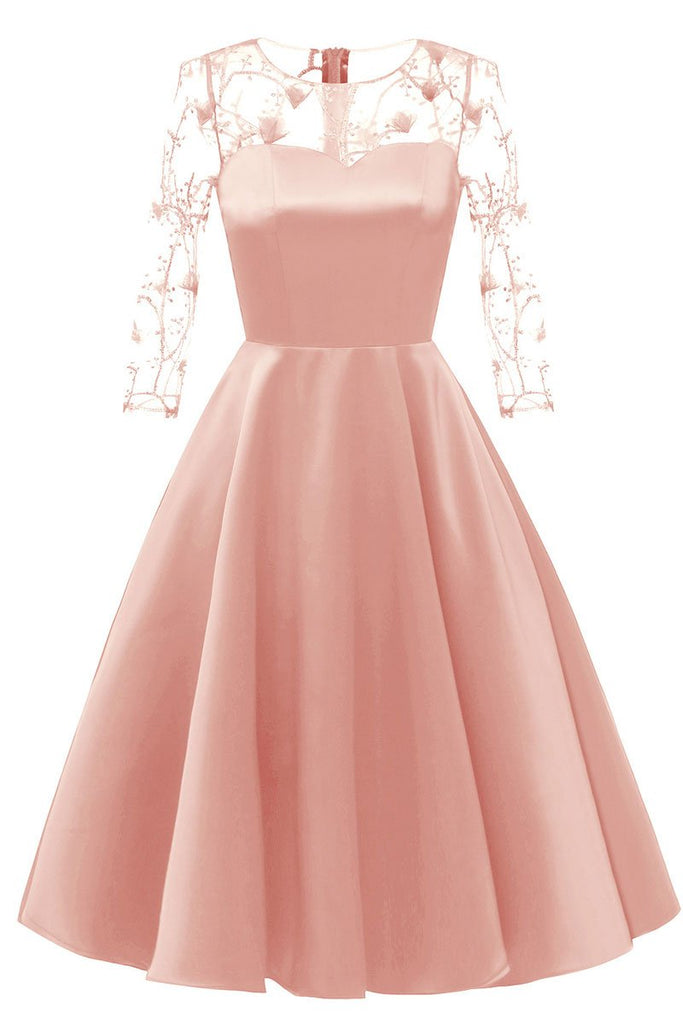 Pink Applique A-line Satin Homecoming Dress