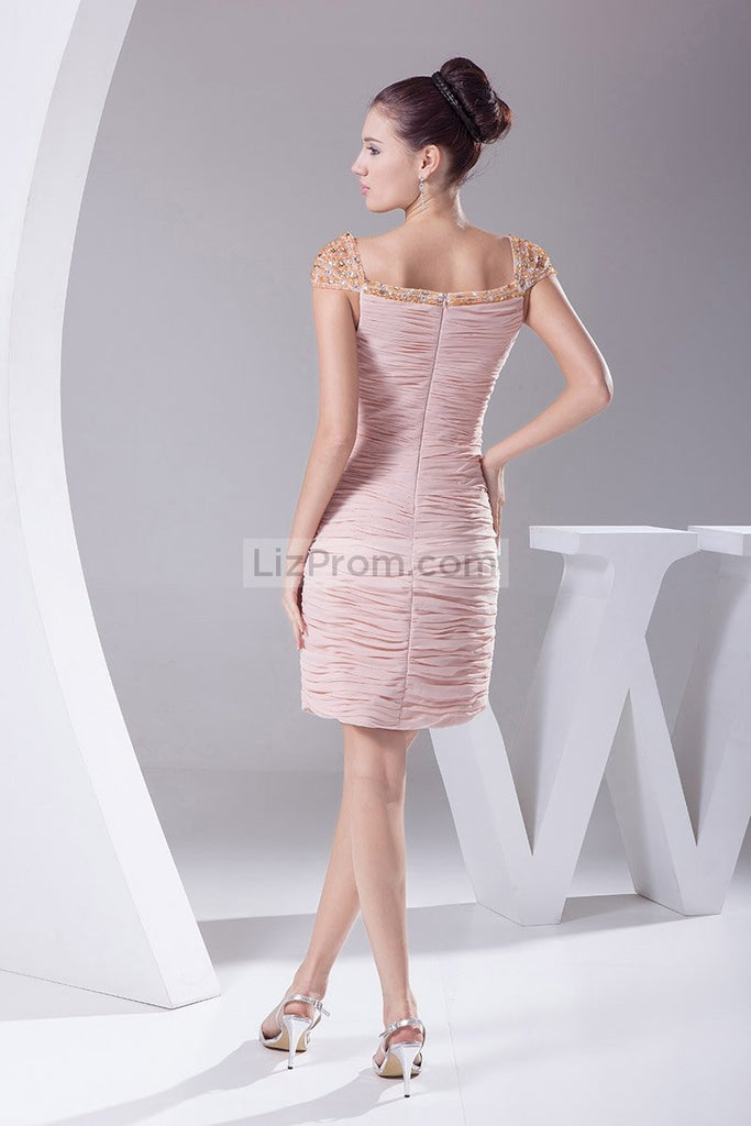 Pink Cap Sleeves Ruffled Column Short Prom Dress
