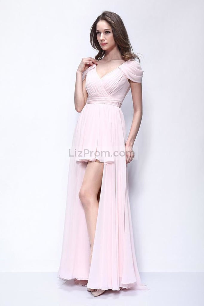 Pink High Low Cap Sleeves Prom Homecoming Dress