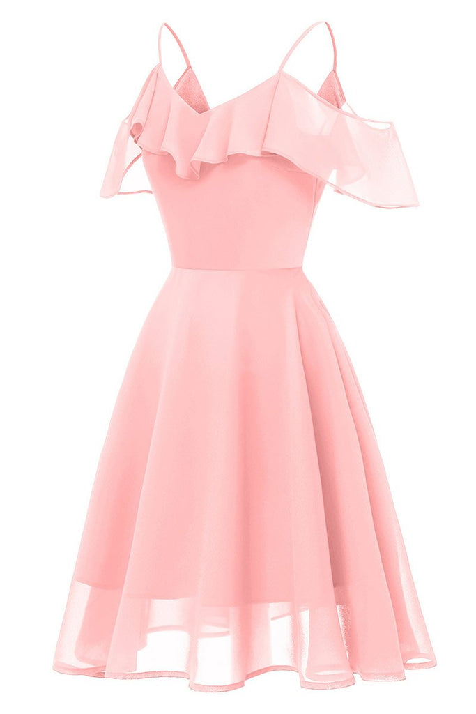 Pink Off-the-shoulder A-line Spaghetti Strap Prom Dress