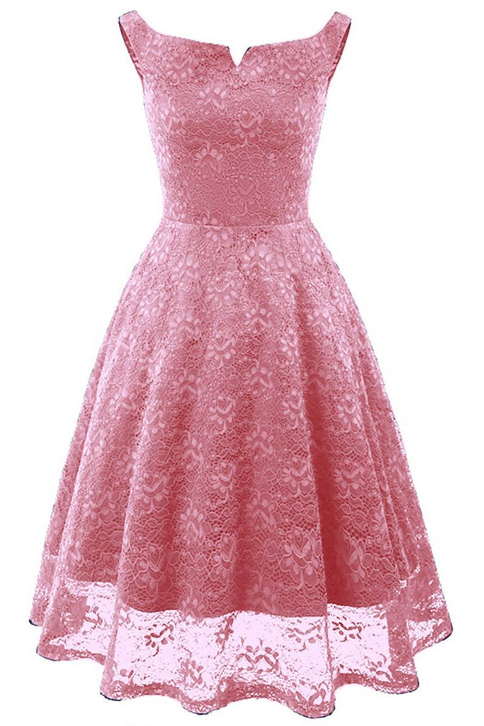 Pink Off-the-shoulder Lace Homecoming Prom Dress