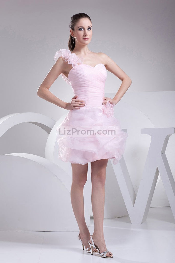 Pink One Shoulder Fit And Flare Short Homecoming Dress