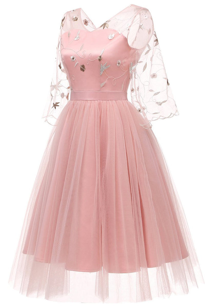 Pink V-neck A-line Applique Prom Dress With Long Sleeves