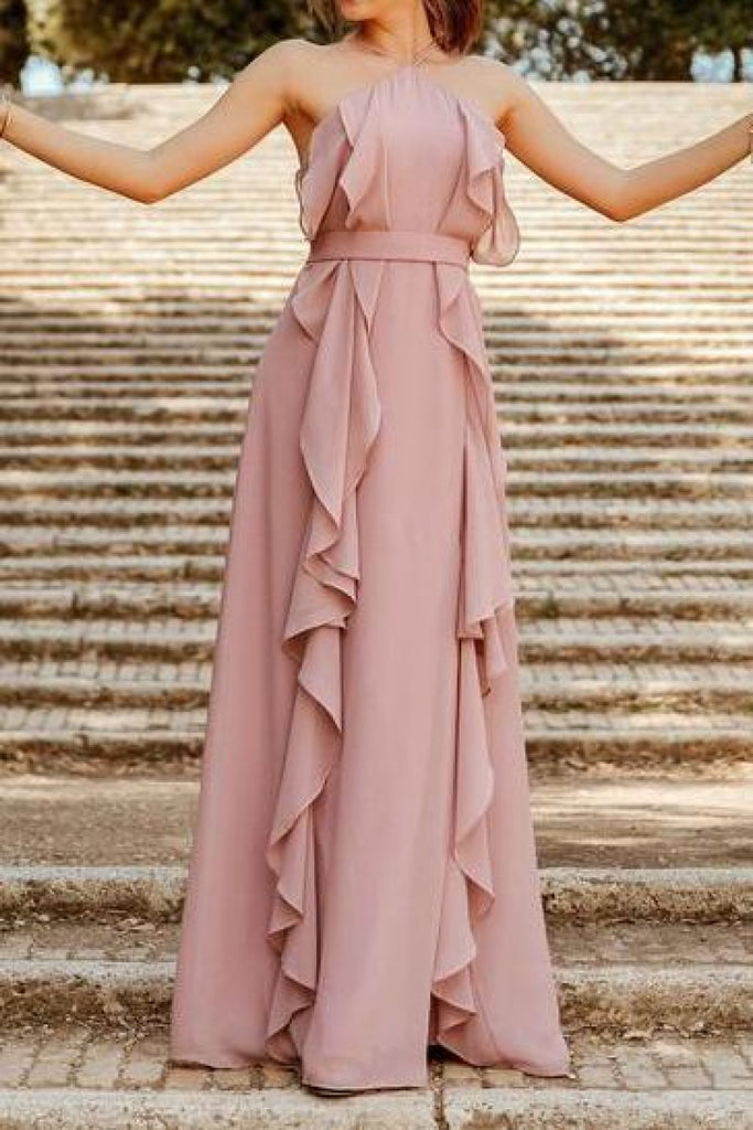 Pink A-line Floor Ruffles Bridesmaids Evening Dress