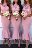 Pink Lace High Low Mermaid Bridesmaid Dress