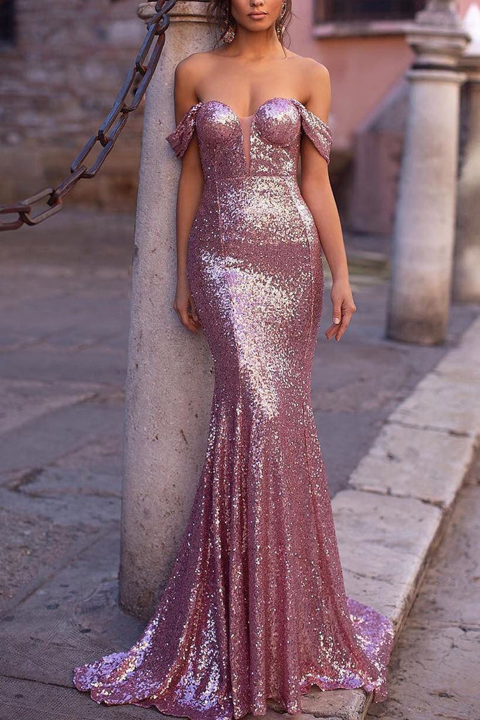 Pink Mermaid Off The Shoulder Sequined Sweetheart Prom Dress