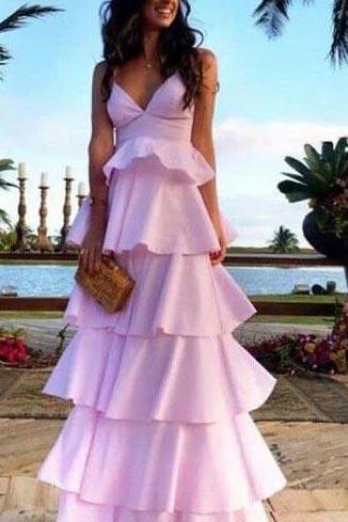 Pink V-Neck Backless A-Line Fluffy Sweet Princess Prom Dress Dresses